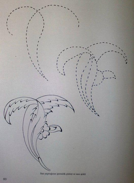 Saz Yolu Yaprak Cizimi Tezhip Cizim Drawing