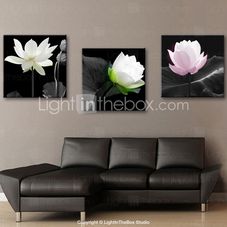 Reproduction transférée sur toile Art floral élégant Lotus Set de 3 - USD $ 59.99