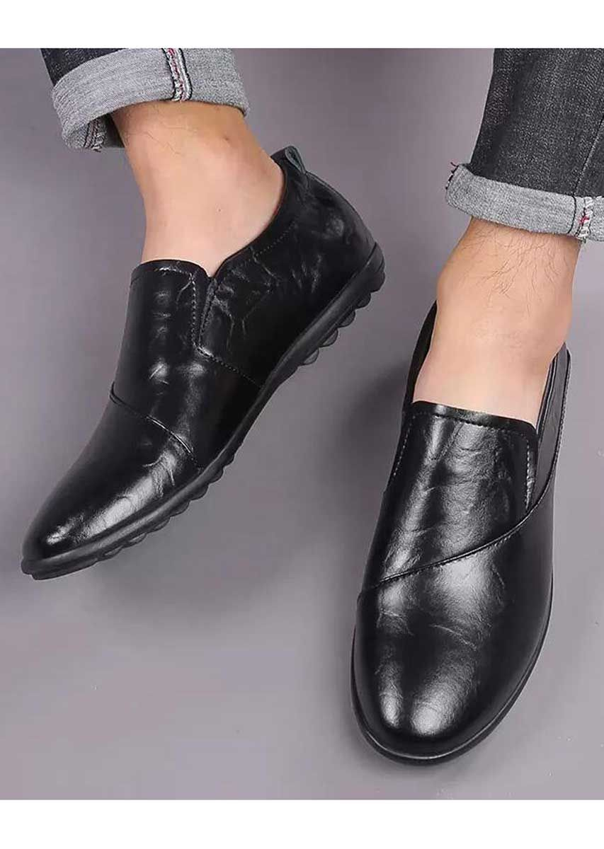 Black Sewed Style Leather Slip On Shoe Loafer In Plain Leather Slip On Shoes Mens Slip On Loafers Slip On Shoes [ 1200 x 853 Pixel ]