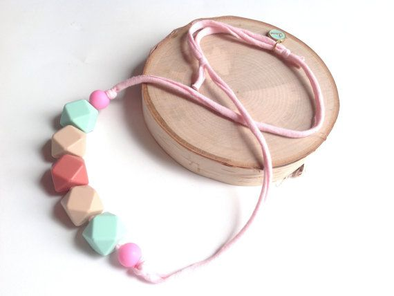 Silicone Bead Necklace Pink Mint Oatmean by sherbetwithsprinkles