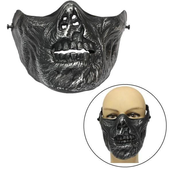 creepy halloween costumes #halloweencostumes Zombie Skull Skeleton Half Face Mas... #funnyhalloweencostumes