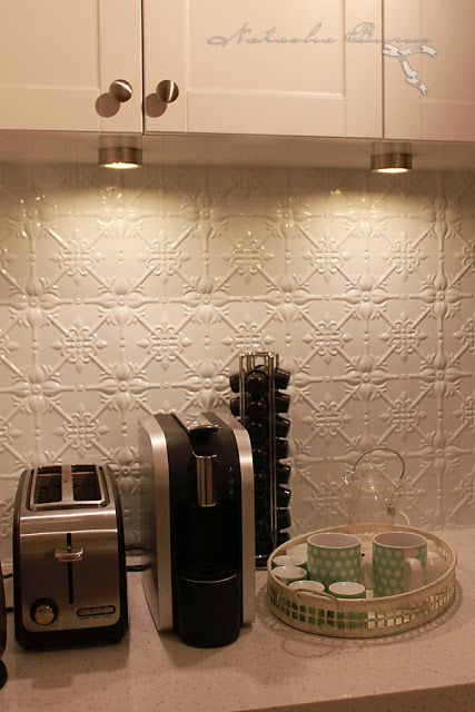 Pressed Tin Splashback Backsplash With Downlights Installed In The