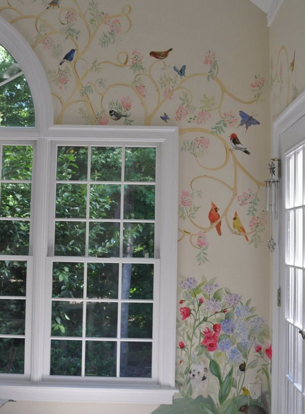 Various Birds Wall Mural | Tromp L'Oeil | Pinterest | Gardens