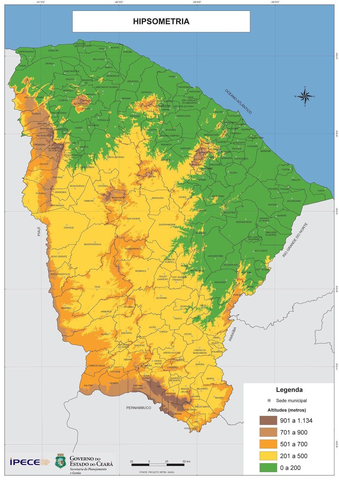 Mapa Hipsometrico Do Ceara Ceara Mapa Do Ceara Mapa