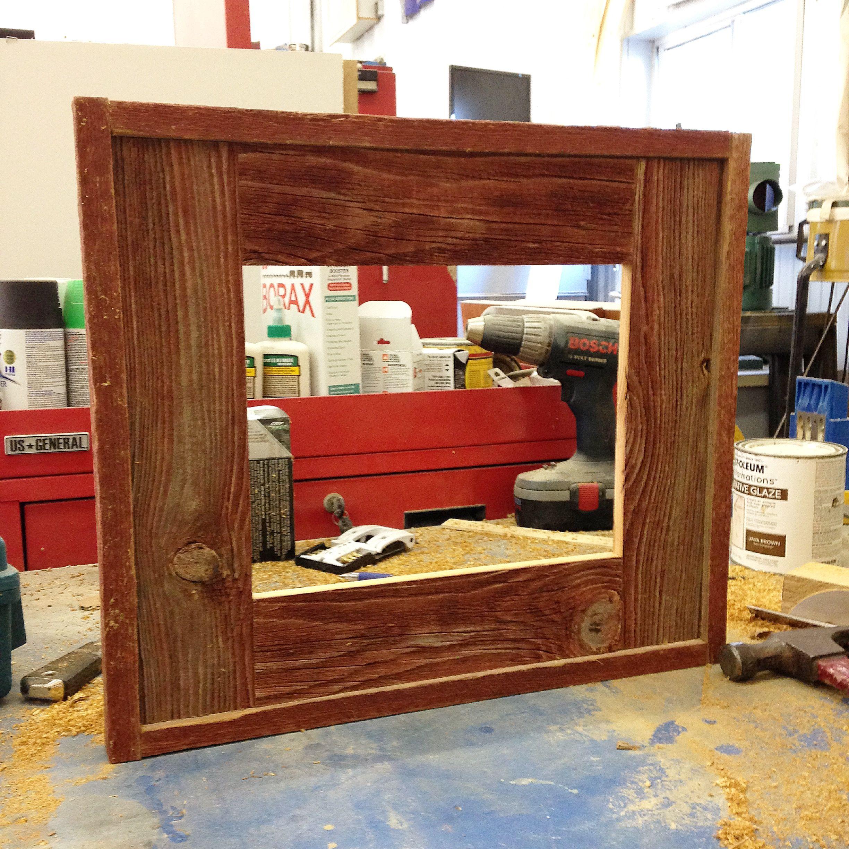 Red barn board picture frame | Barn board, Bathroom ...