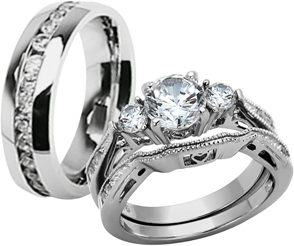 Marimor Jewelry Hers And His Stainless Steel 3 Piece Cz Wedding Ring Set And Eternity Wedding B In 2020 Cz Wedding Ring Sets Wedding Ring Sets Cheap Wedding Rings Sets