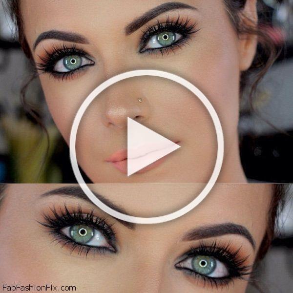 Radiant skin, perfectly shaped eyebrows, black eyeliner and orange lipstick makeup inspiration.