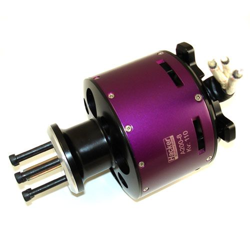 These big motors are engineered to deliver high power for 35 - 45 lb (150cc) Patten, Scale and 3D-Aerobatic models with 12-14 cell LiPoly batteries.The A200-8, with it's 20 pole, outrunner design creates amazing torque, therefore larger direct drive props can be used without the need for a gearbox. These motors feature Oversized bearings, curved Neo-magnets and a High Efficiency stator design. www.Aero-Model.com