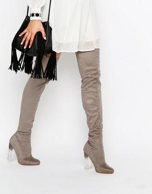 d1aae6d4c7b5e Botas por encima de la rodilla con tacón transparente de Truffle Collection  Faux Fur Boots,