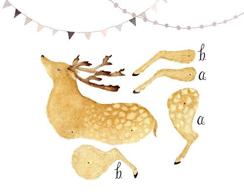 Deer Articulated Paper Doll Printable Instant Download PDF