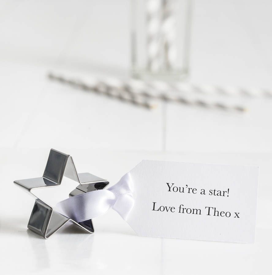 Personalised Star Cookie Cutter With Tag | Star cookie cutter, Star ...