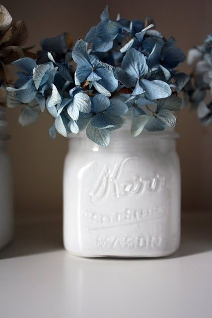 Painted White Mason Jars And Dried Hydrangeas By Carmen Painted Mason Jars Mason Jar Diy Mason Jars