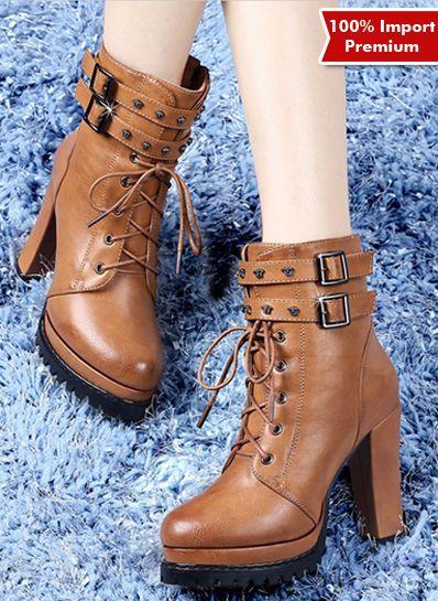 Sepatu Wanita High Heel Angkle Boots Import Premium 588pr