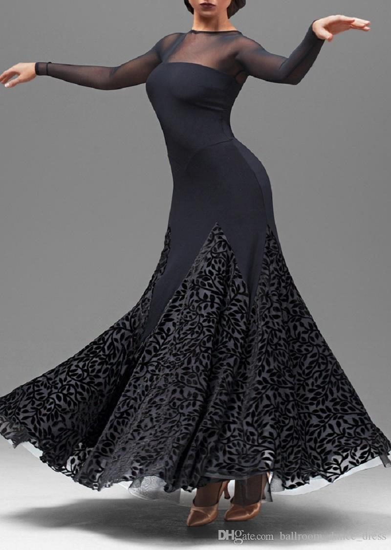 Ballroom Dance Dress Modern Waltz Standard Competition Black Flower Dress S-XXL