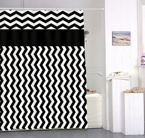 chevron black and white special custom shower curtains by upilasin ...