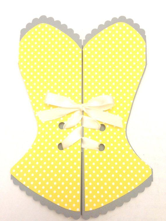12 Corset Bridal Shower Bachelorette Invitation Yellow Polka Dot With Gray And White Ribbon