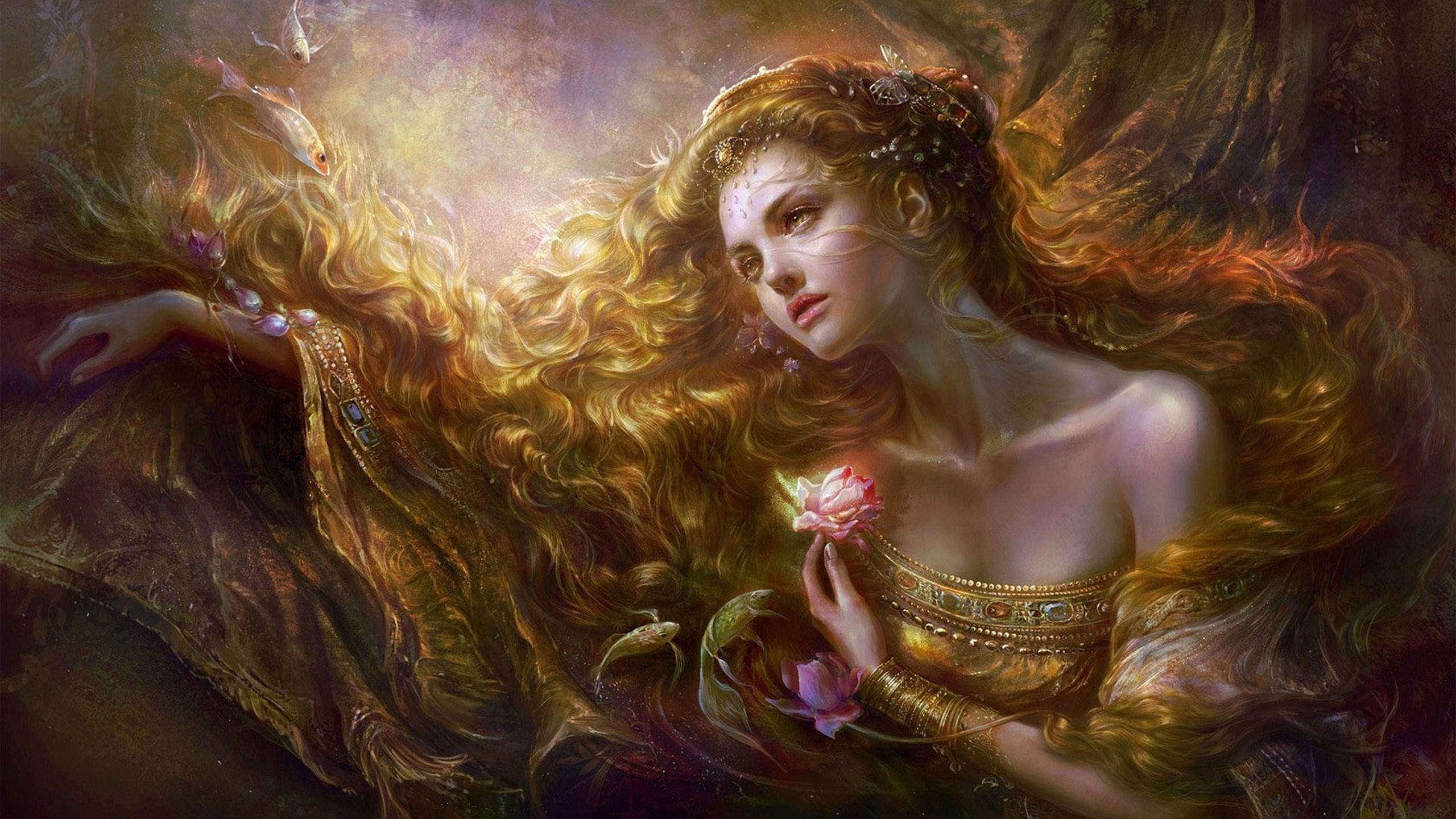 Beautiful Goddess Wallpapers Hd 2560x1440 Jpg 2560 1440 Fantasias De Sereia Garota Fantasia Wallpaper De Fadas