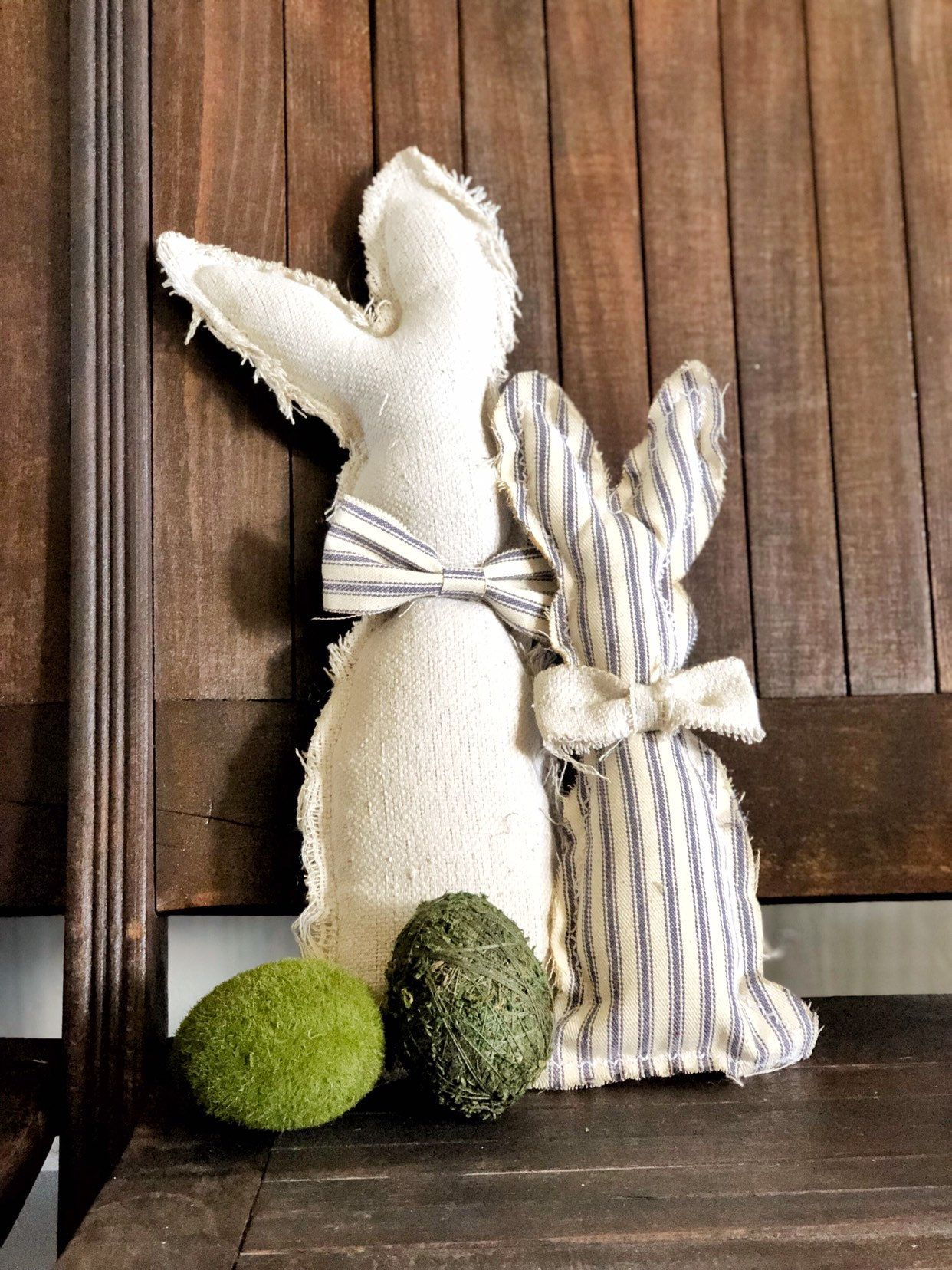 Farmhouse Fabric Bunnies | Farmhouse Easter | Spring Decor | Rustic Fabric Bunnies | Primitive Fabric Bunnies | Free Shipping | Blue Ticking