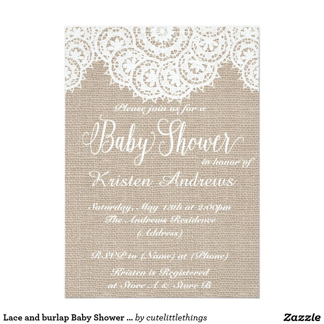 I LOVE these white on white Lace and burlap Baby Shower Invitations ...