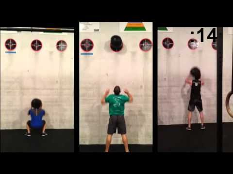 30# wall balls are heavy! Watch Tim, Blake, and Hoon go at it for 30 secs. Who gets the most?
