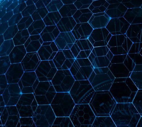 the-art-zone: Blue hexagon DNA pattern.