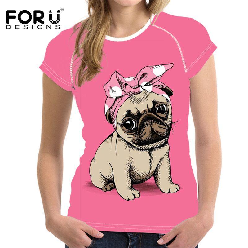 Cute Pug Dog Pink Print Women Summer T Shirt Casual Short Sleeve