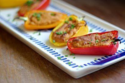 Hummus Stuffed Vegetables Recipe. Lemon Juice, Garlic, & Olive Oil - PERFECT Healthy Summer Appetizer!