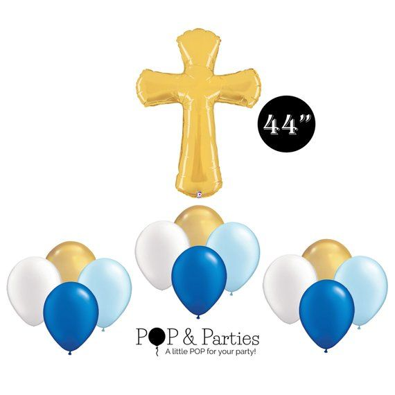 Boy Christening Balloon Bouquet, Royal Blue and Gold