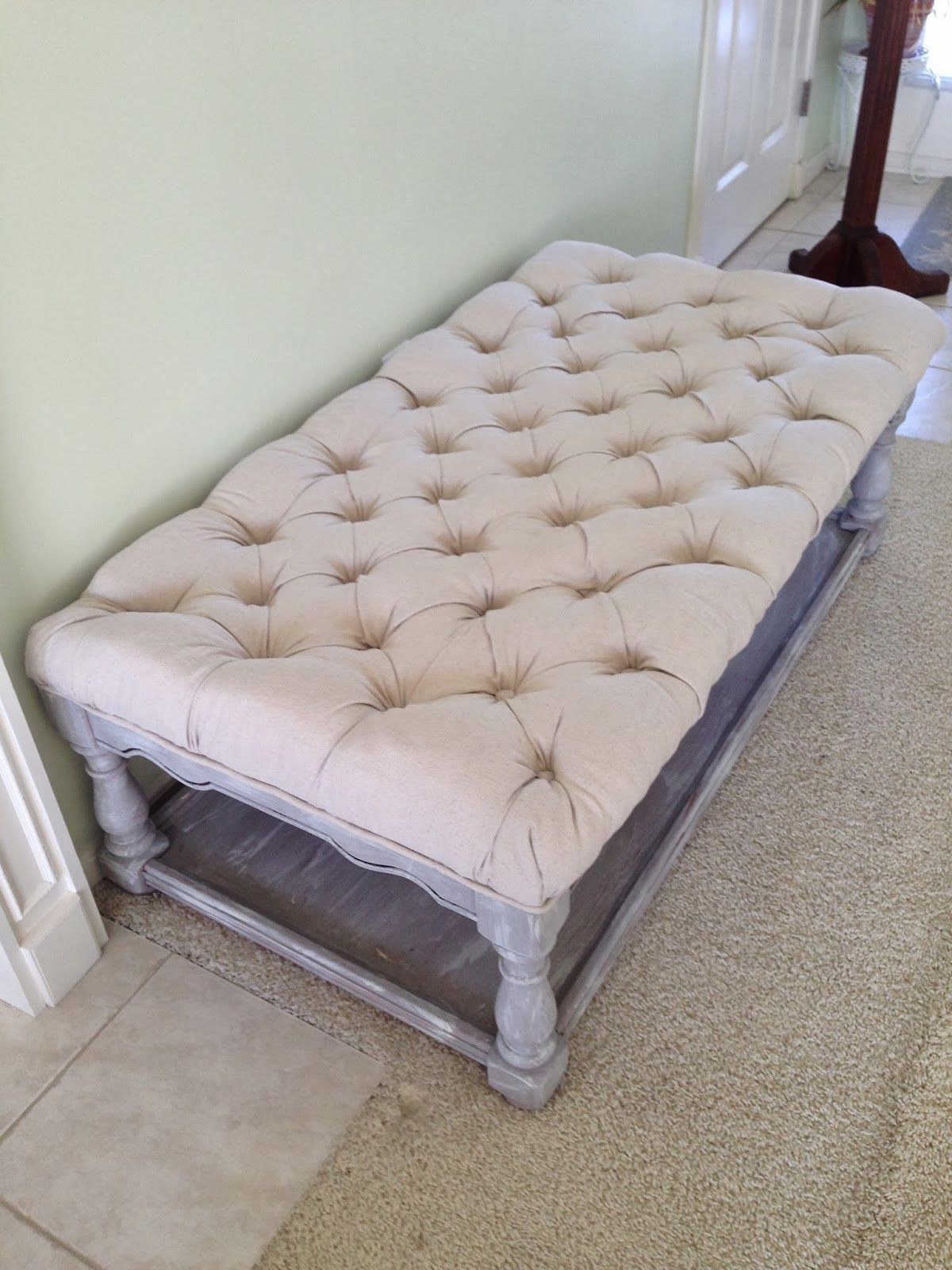 Pretentious Before We Get I Have To Tell You I Love Tufted This Oneis Inspired By One Addicted To Decorating Did Just Tufted Ottoman From A Coffee Table Diy House decor Addicted To Decorating