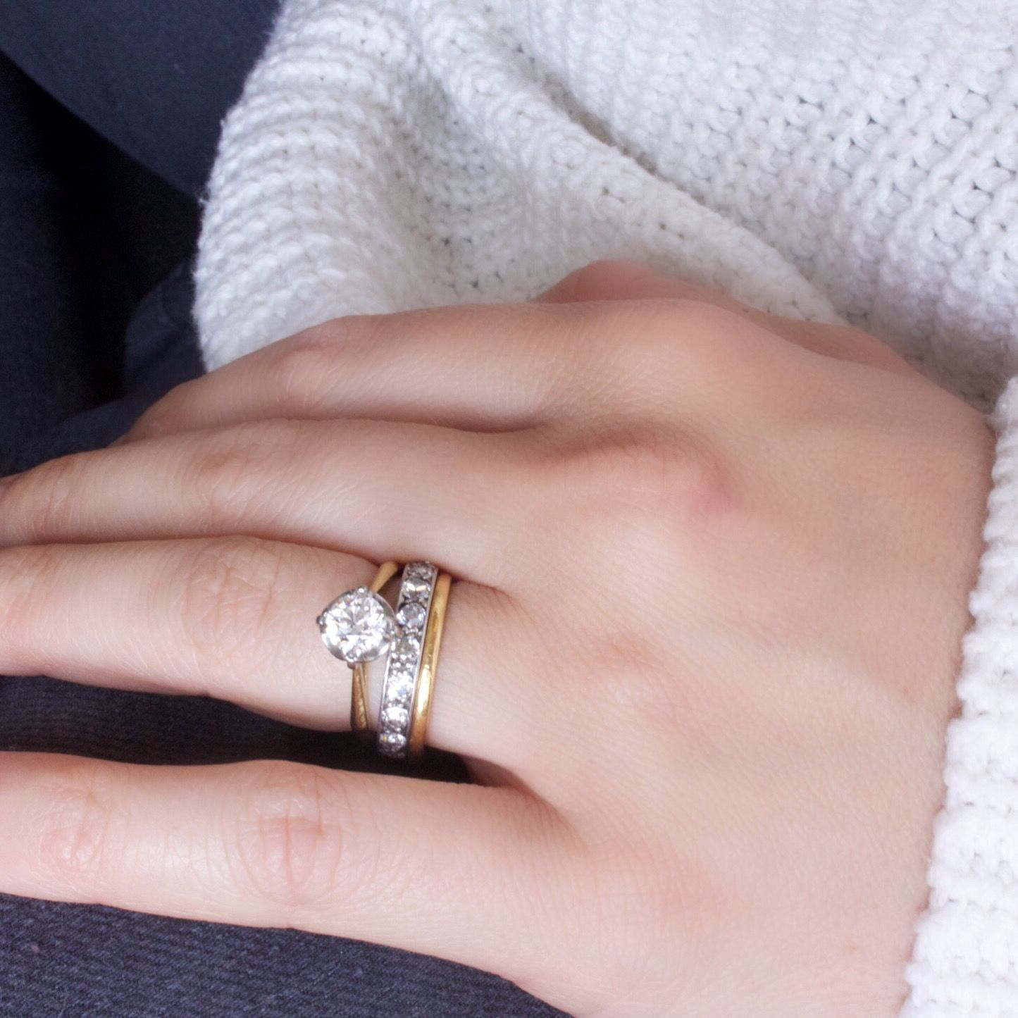 Mixing metals with a yellow gold vintage engagement ring platinum