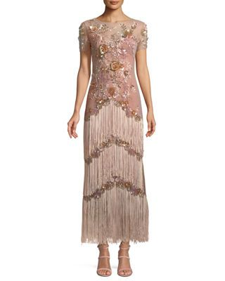 bbc59a80 Marchesa Notte Short-Sleeve Illusion Fringe Column Gown   Products ...