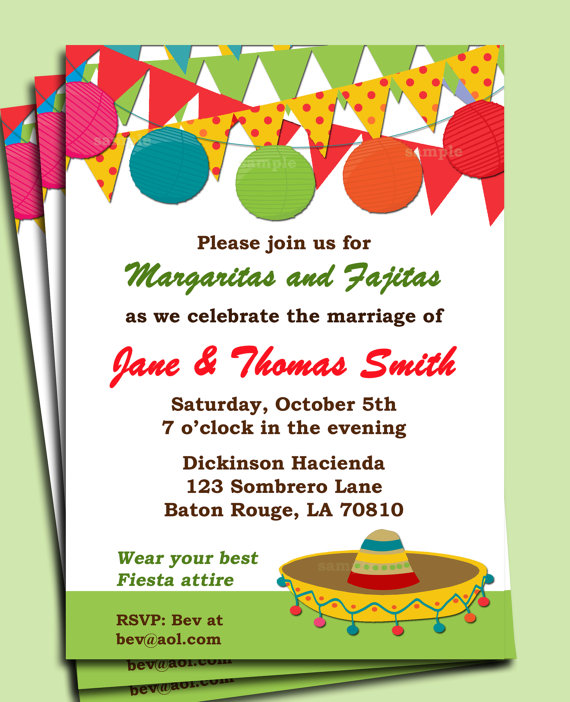 Fiesta Party Invitation Printable or Printed with FREE SHIPPING - free dinner invitation templates