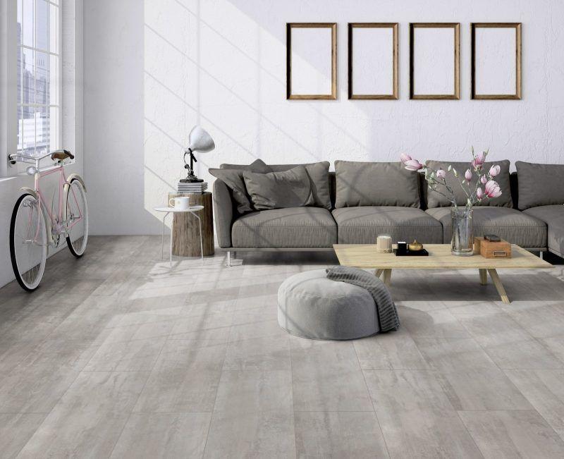 Ter Hurne Cement Look Light Grey Laminate Tile In 2020 White Laminate Flooring Grey Walls Living Room Grey Laminate Flooring