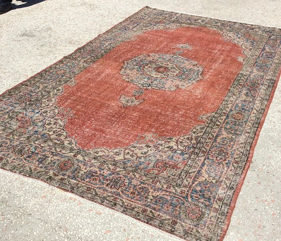 Natural Colored Vintage Rug Turkish Double Knot