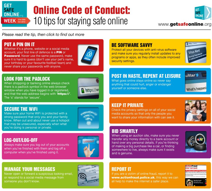 Online Code of Conduct Staying safe online, Safe
