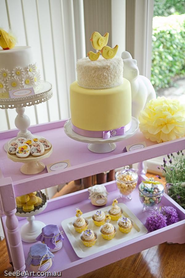 Superior Pink Yellow Purple Baby Shower Part - 4: Lemon U0026 Lavender Baby Shower Cake Via Pink Frosting - Cake Ribbon