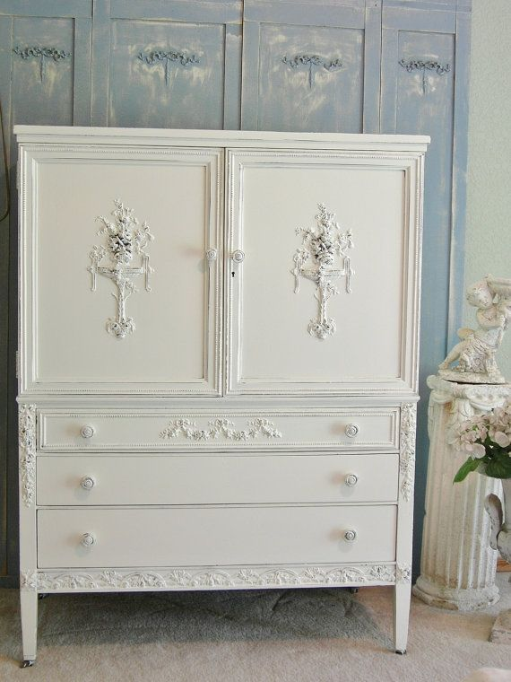 how to add wood appliques to furniture Antique Dresser Chifferobe Highboy  Chic Roses - ON SALE - Sligh Furniture Antique Dresser Antique Furniture