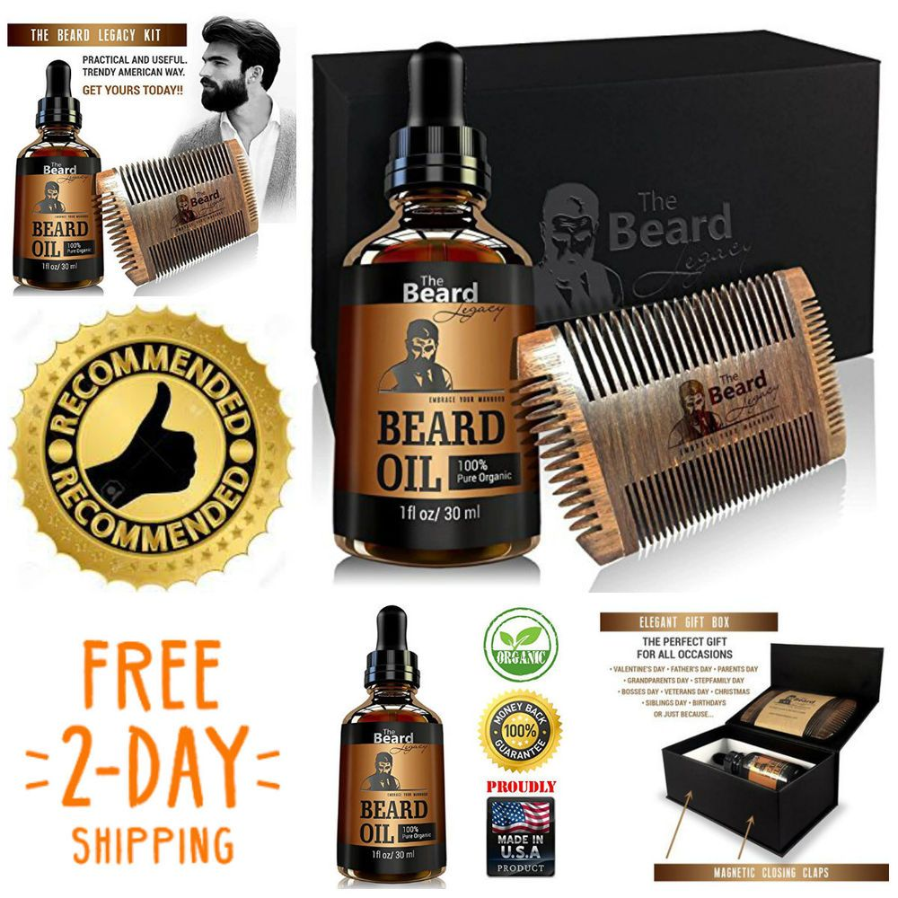 Beard wooden comb kit oil allnatural luxury gift box