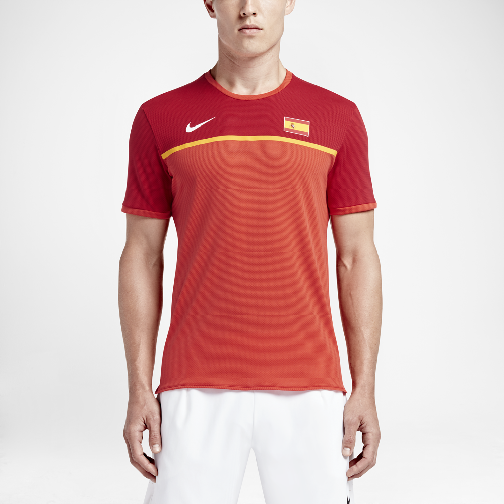 hot sale online b3509 cecde Nike NikeCourt AeroReact Rafael Nadal Challenger Mens Tennis Shirt Size  Medium (Red) - Clearance Sale