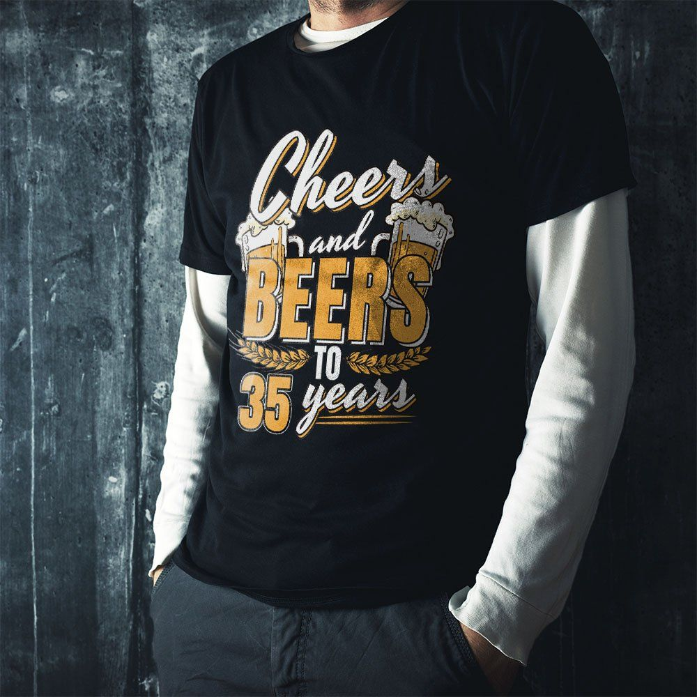 35th birthday shirt cheers and beers to 35 years funny