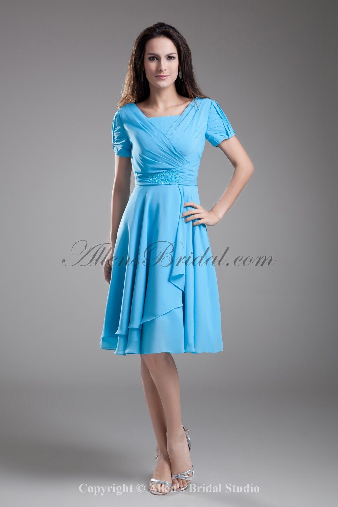 Chiffon Square Knee Length Short Sleeves A-Line Cocktail Dress on ...