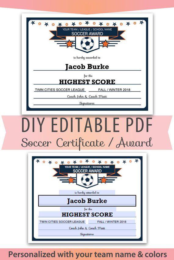 Personalized DIY Editable Soccer Certificate Pdf