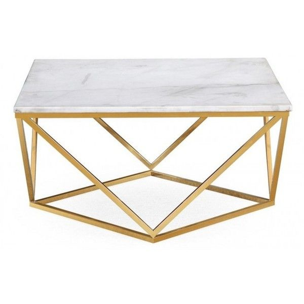 db808147821ec Square White Marble Geometric Golden Base Coffee Table (€455) ❤ liked on  Polyvore featuring home