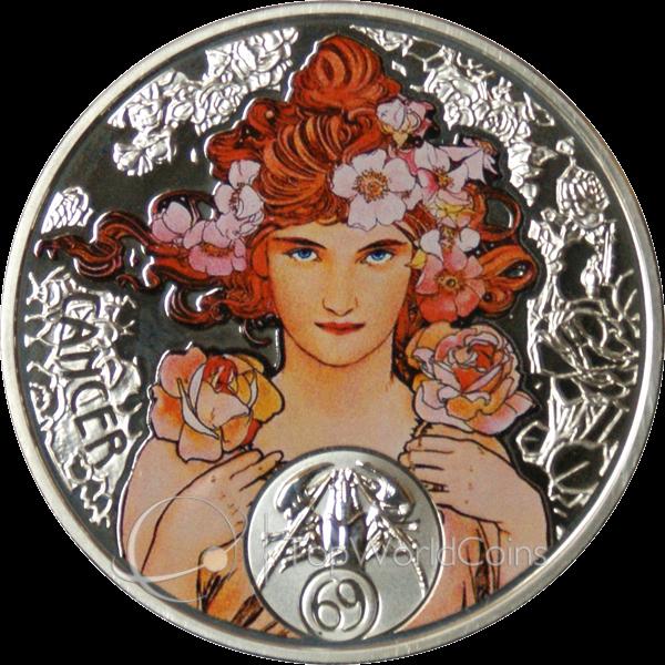 Niue 2011 1$ Cancer A. Mucha Zodiac Proof Silver Coin :: Top World Coins