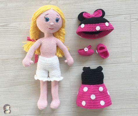 Muñeca amigurumi con conjunto | Muñecos >n.n< | Pinterest | Villa ...