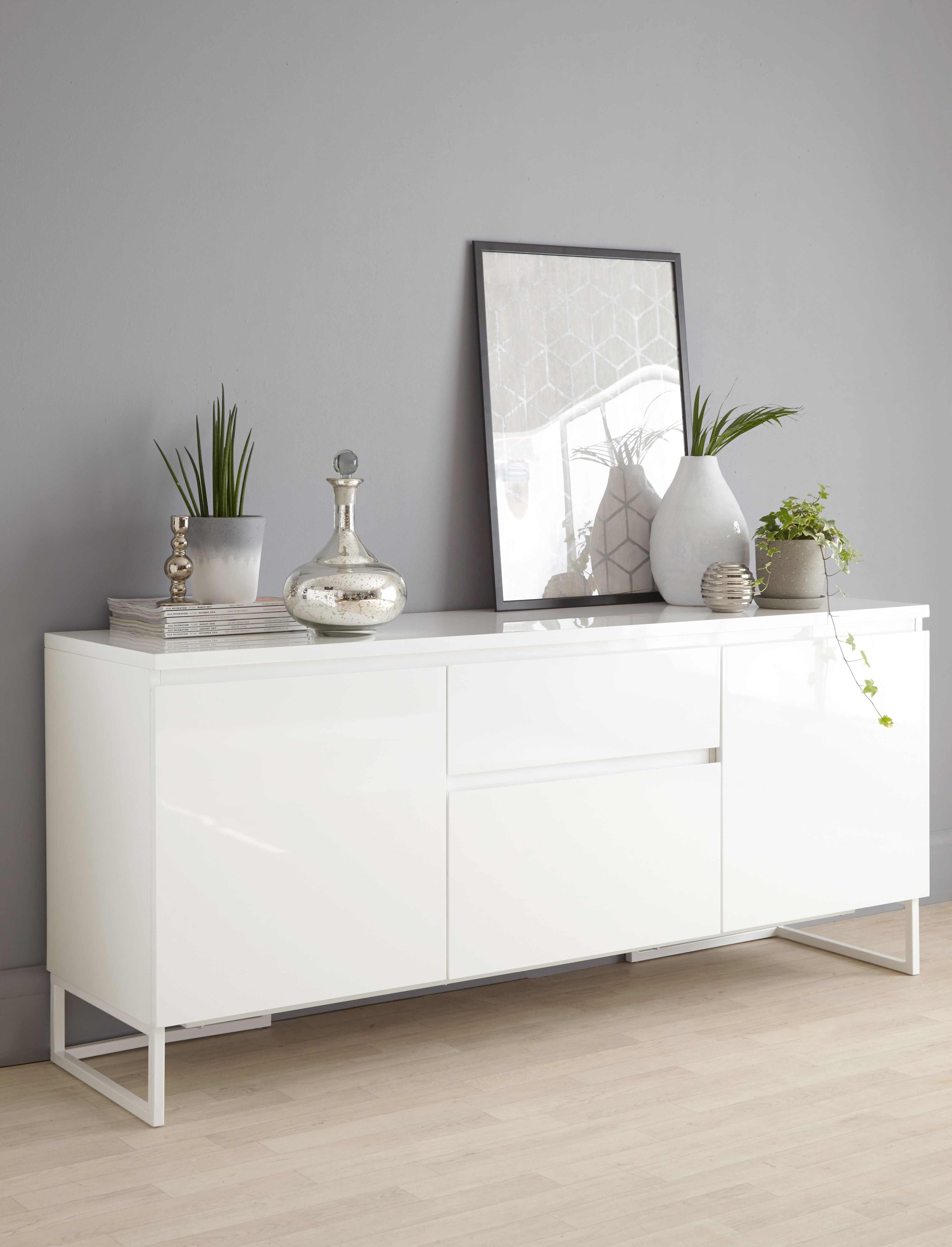 Sciae Floyd Contemporary High Gloss White Large 2 Door Sideboard