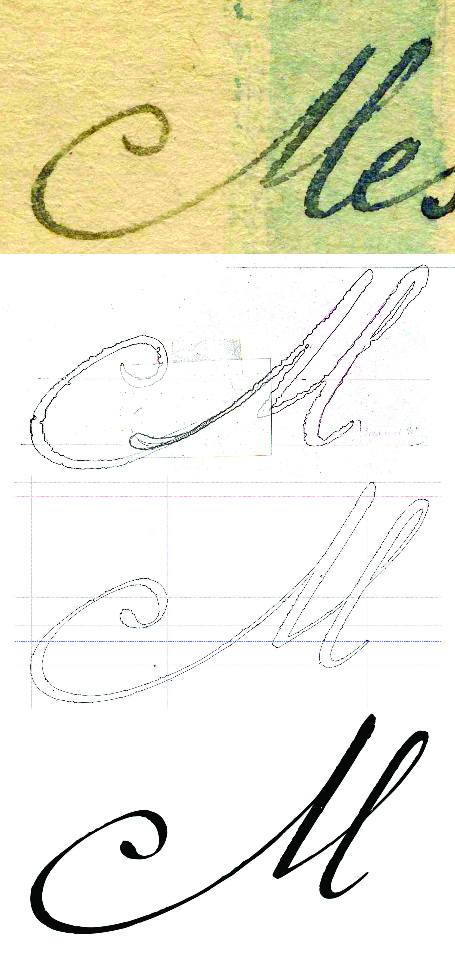 Sequence Of Images Showing The Initial Sketch To The Final