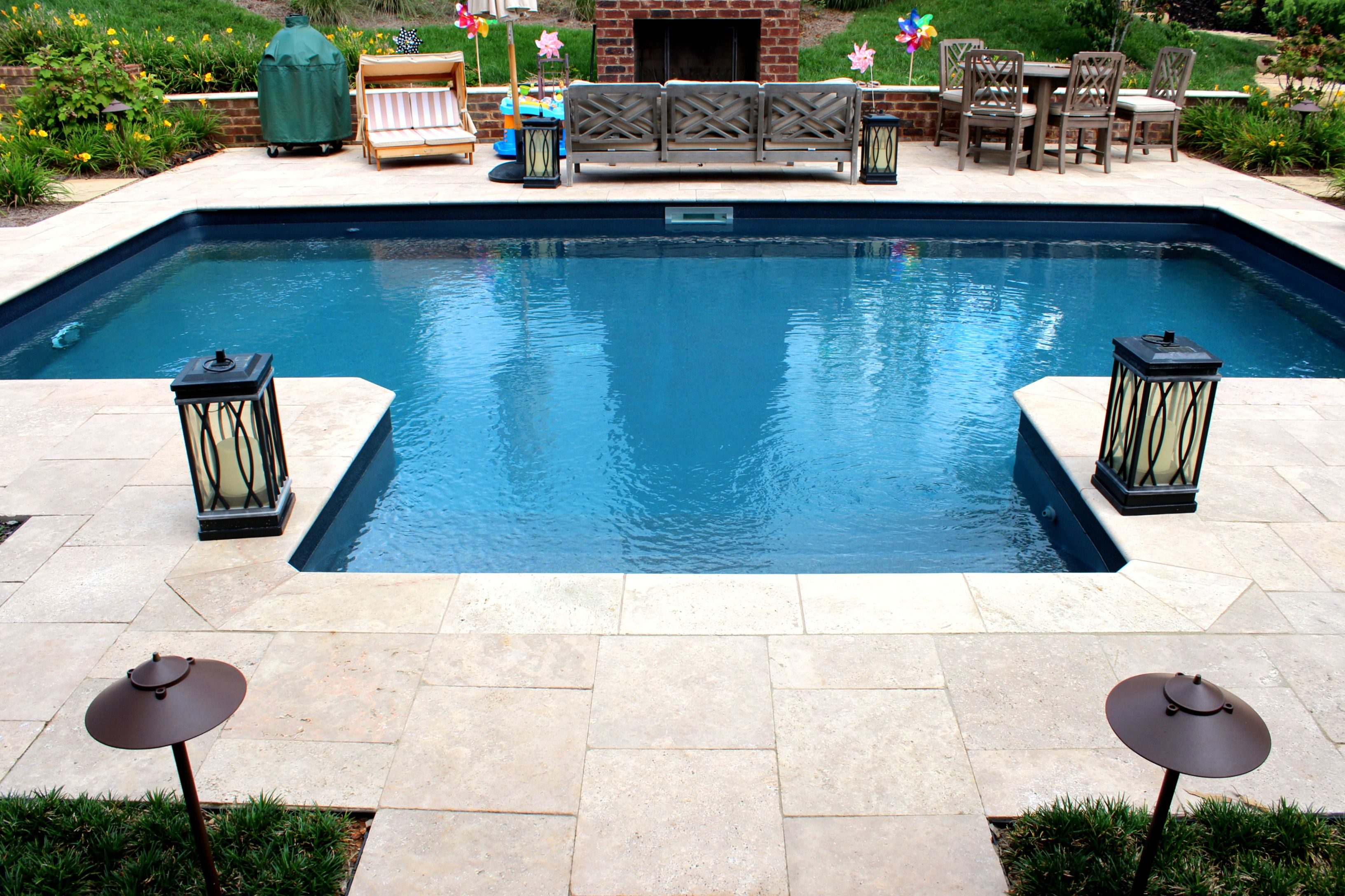 Simple Vinyl Pool With Deck Jets And Entry Vinyl Pool Small Backyard Pools Vinyl Pools Inground