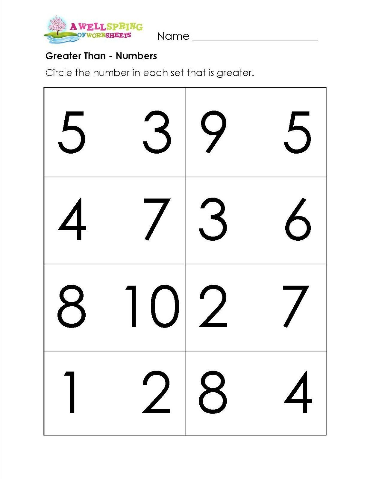 Math Worksheets Bigger Smaller Numbers