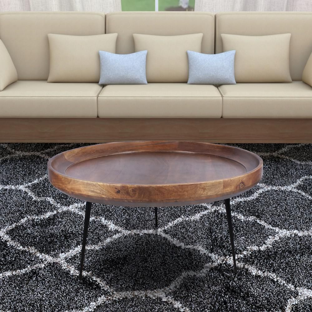 The Urban Port 30 In Brown Black Medium Round Wood Coffee Table With Metal Legs Upt 183000 The Home Depot Coffee Table Wood Mango Wood Coffee Table Brown Coffee Table [ 1000 x 1000 Pixel ]